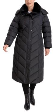 London Fog Plus Size Maxi Faux-Fur-Trim Hooded Puffer Coat