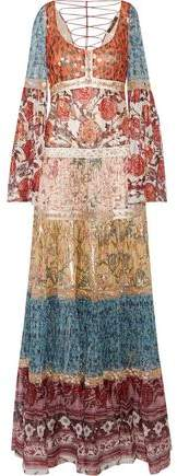 Roberto Cavalli Embellished Printed Fil Coupé Silk-Blend Chiffon Gown