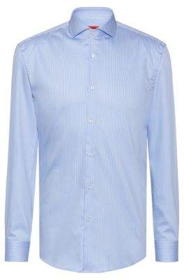 HUGO Slim-fit shirt in striped satin with extra-long sleeves