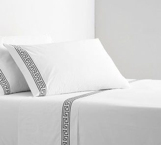 Pottery Barn Geo Embroidered Organic Percale Sheet Set