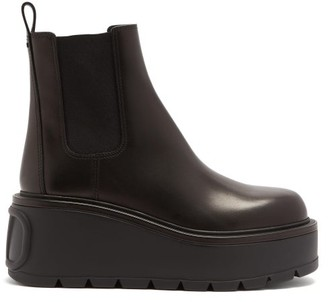 Valentino Uniqueform Leather Platform Chelsea Boots - Black
