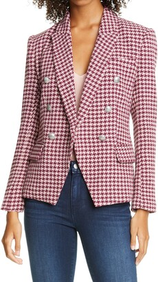 L'Agence Kenzie Double Breasted Houndstooth Tweed Blazer