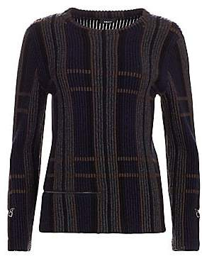 Akris Women's Ribbed Cashmere & Silk Zip Crewneck Sweater
