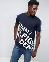 Tommy Hilfiger T-Shirt Large Asymetric Logo In Navy