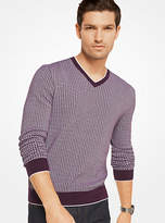 Michael Kors Check Cotton V-Neck Pullover