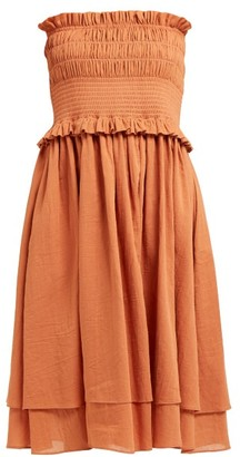 Loup Charmant Corolla Shirred Cotton Dress - Dark Orange