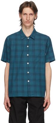 Paul Smith Blue and Black Camp Plaid Shirt