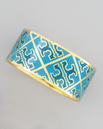Tory Burch Enamel T-Pattern Bangle, Blue