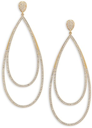 Adriana Orsini Pave Crystal Double-Tier Drop Earrings/Goldtone