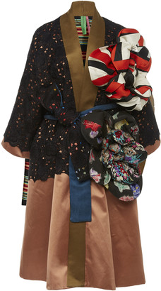 RIANNA + NINA Exclusive Floral-Appliqued Lace And Silk-Satin Coat
