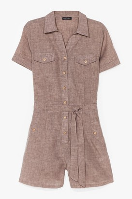 Nasty Gal Womens Work From Home Belted Playsuit - Beige - 8, Beige