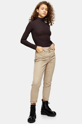 Topshop Womens Petite Sand Mom Tapered Jeans - Sand