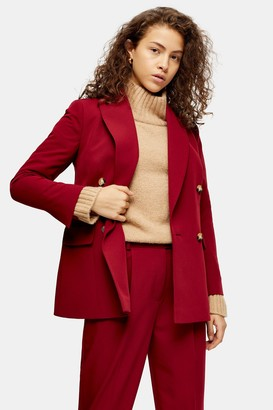 Topshop Womens Petite Berry Suit Blazer - Berry Red