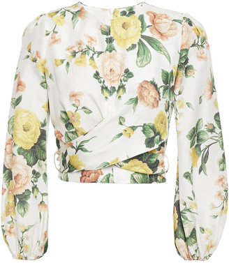 Zimmermann Zippy Cropped Tie-back Floral-print Silk-crepe Blouse