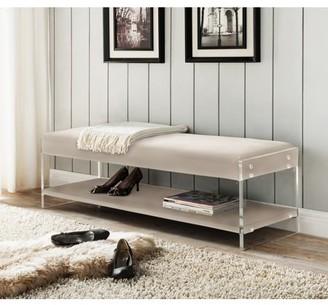 Chic Home Fairbanks PU Leather Modern Contemporary Flat seat Bottom Shelf Bench, Cream White