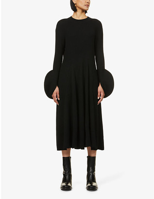 AKIRA NAKA Circle-cuff wool-blend midi dress