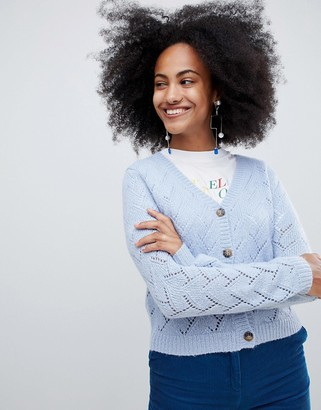 Monki pointelle stitch cardigan in light blue