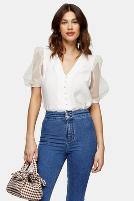 Topshop Ivory Organza Sleeve Button Through Blouse