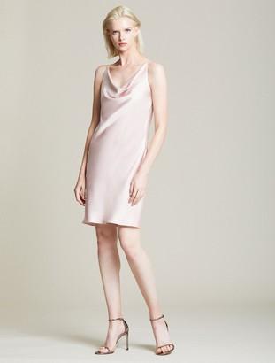Halston Cowl Satin Slip Dress