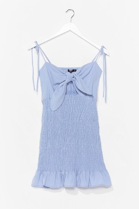 Nasty Gal Womens Take Our Shirred for It Bow Mini Dress - Blue - 6, Blue