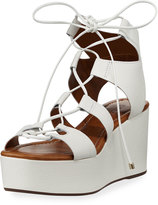 Carrano Chloe Leather Strappy Wedge Sandal, White