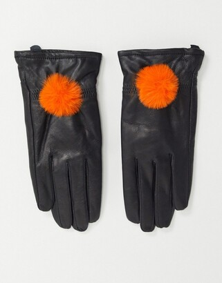 Jayley lambs leather gloves with faux fur pom pom-Black