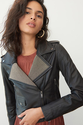 Ikks Crisanta Beaded Leather Moto Jacket By in Black Size XS