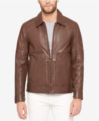 Andrew Marc Men's Perforated Leather Bomber Jacket