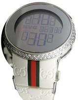 gucci 1142. gucci ya114214 genuine diamond 6 ct digital white mens watch 1142