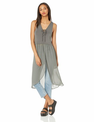 BCBGeneration Women's Mixed Media Tie Front Top