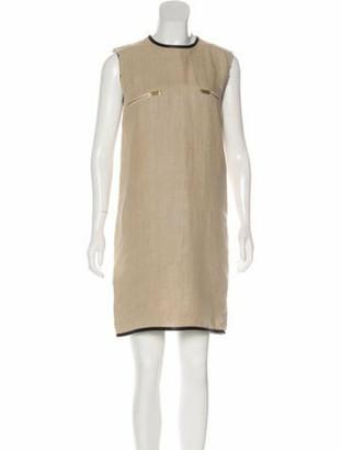 Celine Linen Leather-Trimmed Dress Tan