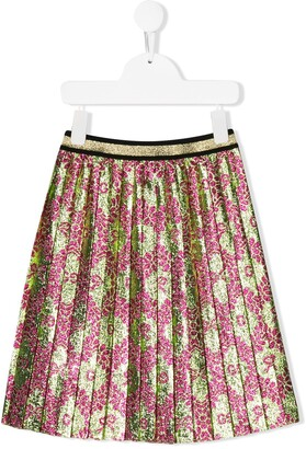 Gucci Kids Pleated Floral Print Skirt