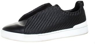 Ermenegildo Zegna Couture Black Woven Leather Pelle Tessuta Triple Stitch Slip On Sneakers Size 44