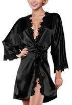 Fashion Story Women Sexy Lace Satin Silk Nightdress Nightgown Sleepwear Pajamas Robes (Blue)