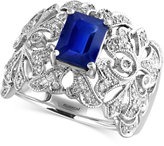 Effy Sapphire (1-1/2 ct. t.w.) and Diamond (1/3 ct. t.w.) Ring in 14k White Gold