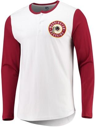 Redskins G Iii Men's G-III Sports by Carl Banks White/Burgundy Washington Tradition Henley Long Sleeve T-Shirt