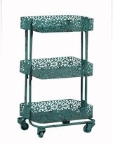 Linon Turquoise Metal 3-tier Cart