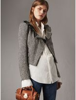 Burberry Ruffle Collar Donegal Herringbone Wool Jacket