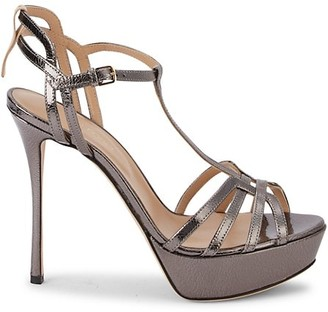 Sergio Rossi Hee Canna Ankle-Strap Leather Sandals