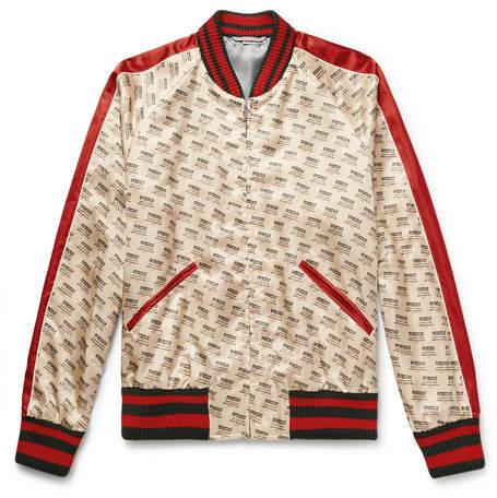 Gucci Logo-Print Satin Bomber Jacket