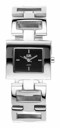 Clips Women's Quartz Watch with Black Dial and Silver Metal Strap 553-2003-48