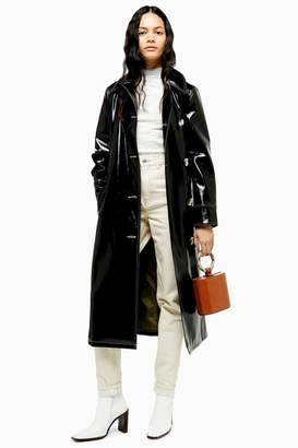 Topshop Contrast Faux Leather Vinyl Trench