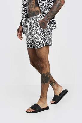 boohoo Animal Print Swim Short In Mid Length