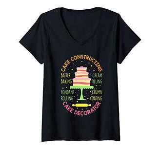 Womens Cake Decorator Constructing Cakes Desserts Baker Gift V-Neck T-Shirt