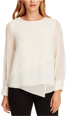 Vince Camuto Asymmetrical Double-Layer Chiffon Top