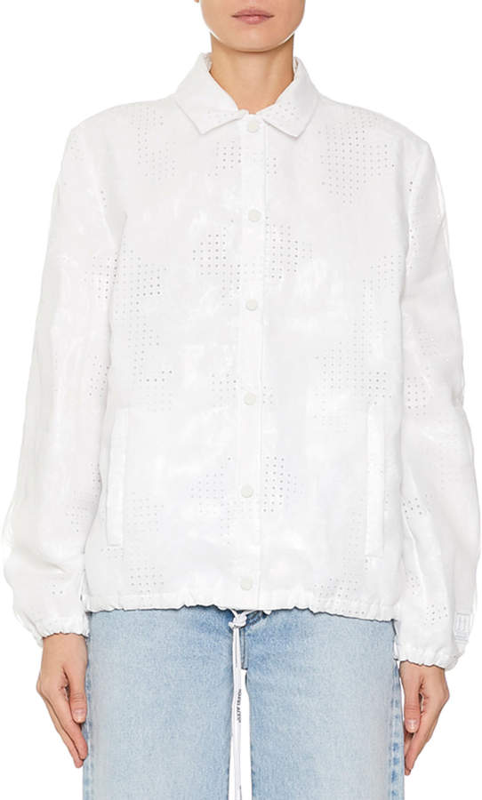 Off-White Off White Eyelet Embroidered Button Front Jacket