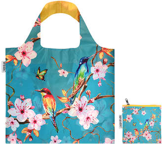 Wrapables Totebags - Blue & Pink Cherry Blossoms Reusable Shopping Tote & Pouch