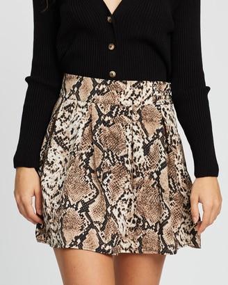 Missguided Snake Print Pleated Mini Skirt