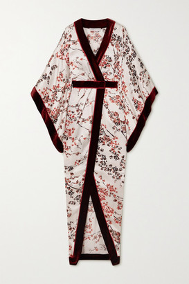 RALPH & RUSSO Velvet-trimmed Floral-print Satin Wrap-effect Gown - Burgundy