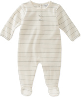 Absorba Gray & White Stripe Footie - Infant